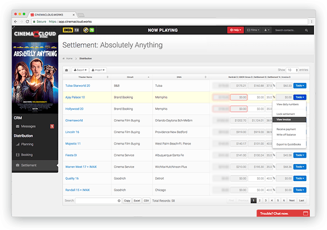 Screenshot: Theatrical Settlement: Automatic Invoicing