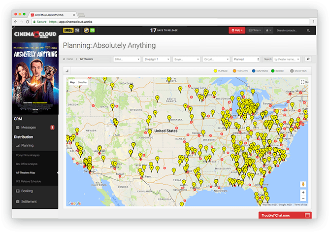 Screenshot: Theatrical Planning: Comprehensive All-Theaters Map