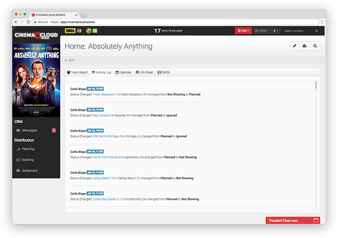 Screenshot: Theatrical Planning: Live Activity Log