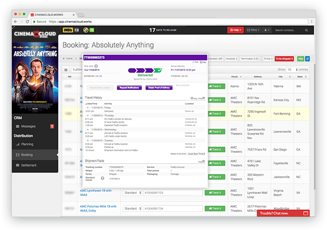 Screenshot: Theatrical Booking: Unified Print Fulfillment Tracking