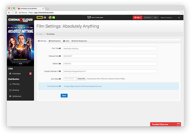 Screenshot: Theatrical Planning: Autonomous Film Management