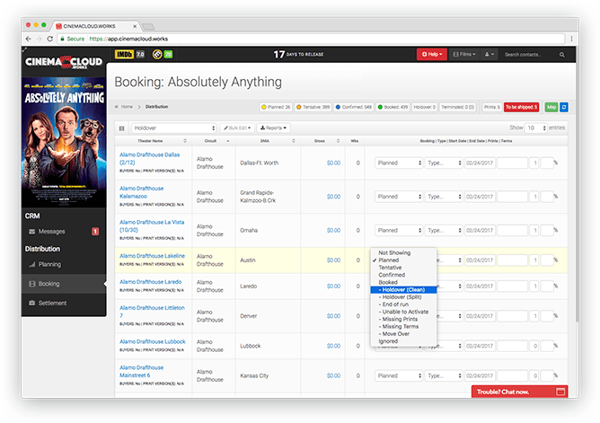 Screenshot: Theatrical Booking: One-Click Holdover Management