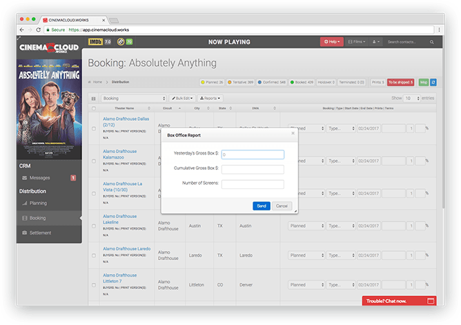 Screenshot: Theatrical Booking: Effortless Box Office Reporting
